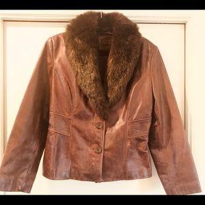 Vintage Guess Leather Jacker Faux Fur Collar
